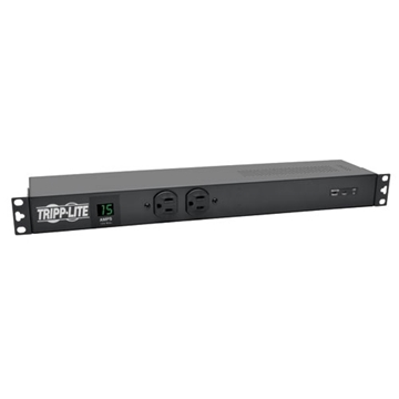 Picture of 1.44kW Single-Phase Metered PDU + Isobar Surge Suppression, 3840 Joules, 120V Outlets (14 5-15R), 5-15P, 15ft Cord, 1U Rack-Mount